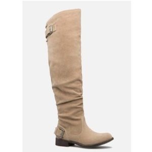 "NWT JustFab ""Angeliz"" sand flat boots, Sz. 8"